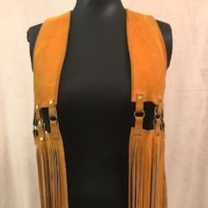 Women's JAZZY Vintage 70's Suede Fringe Vest